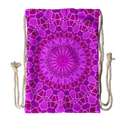 Purple And Pink Mandala Drawstring Bag (large) by LovelyDesigns4U