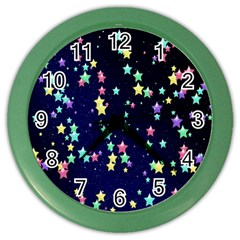 Pretty Stars Pattern Color Wall Clocks by LovelyDesigns4U