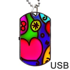 Colorful Modern Love 2 Dog Tag USB Flash (Two Sides)  by MoreColorsinLife