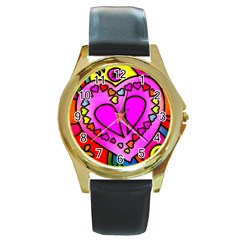 Colorful Modern Love Round Gold Metal Watches by MoreColorsinLife