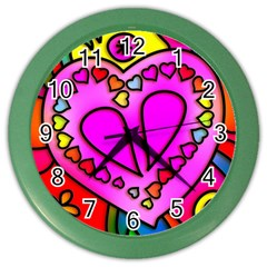 Colorful Modern Love Color Wall Clocks by MoreColorsinLife