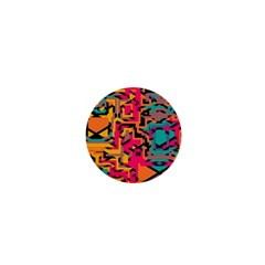 Colorful Shapes 1  Mini Button by LalyLauraFLM