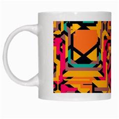 Colorful Shapes White Mug by LalyLauraFLM