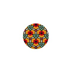 Triangles And Hexagons Pattern 1  Mini Button by LalyLauraFLM