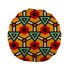 Triangles And Hexagons Pattern Standard 15  Premium Round Cushion  by LalyLauraFLM