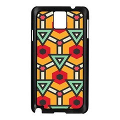 Triangles And Hexagons Pattern Samsung Galaxy Note 3 N9005 Case (black) by LalyLauraFLM