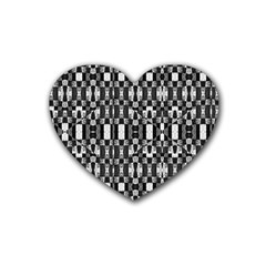 Black And White Geometric Tribal Pattern Rubber Coaster (heart)  by dflcprints