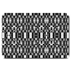 Black And White Geometric Tribal Pattern Large Doormat  by dflcprints