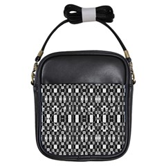 Black And White Geometric Tribal Pattern Girls Sling Bags by dflcprints