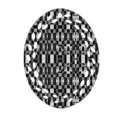 Black And White Geometric Tribal Pattern Oval Filigree Ornament (2 Side)  by dflcprints