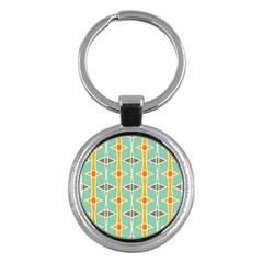 Rhombus pattern in retro colors 			Key Chain (Round) by LalyLauraFLM