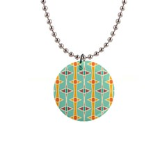Rhombus Pattern In Retro Colors 			1  Button Necklace by LalyLauraFLM