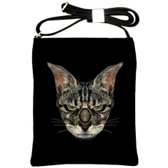 Angry Cyborg Cat Shoulder Sling Bags by dflcprints