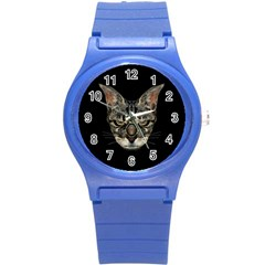 Angry Cyborg Cat Round Plastic Sport Watch (s) by dflcprints