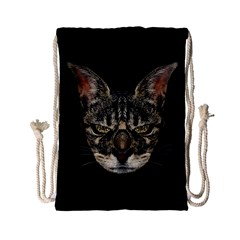 Angry Cyborg Cat Drawstring Bag (small) by dflcprints