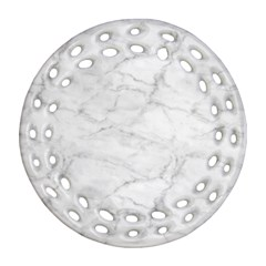 White Marble 2 Round Filigree Ornament (2side) by ArgosPhotography
