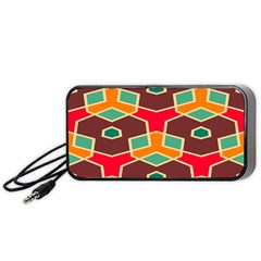 Distorted Shapes In Retro Colors Portable Speaker by LalyLauraFLM