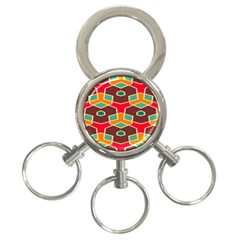 Distorted Shapes In Retro Colors			3 Ring Key Chain by LalyLauraFLM