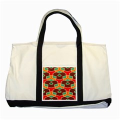 Distorted Shapes In Retro Colors			two Tone Tote Bag by LalyLauraFLM