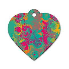 Fading Circles			dog Tag Heart (one Side) by LalyLauraFLM