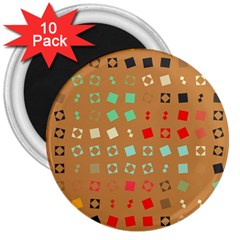 Squares on a brown background3  Magnet (10 pack) by LalyLauraFLM