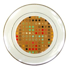 Squares On A Brown Background			porcelain Plate by LalyLauraFLM