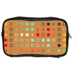 Squares On A Brown Backgroundtoiletries Bag (one Side) by LalyLauraFLM