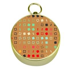 Squares On A Brown Backgroundgold Compass by LalyLauraFLM