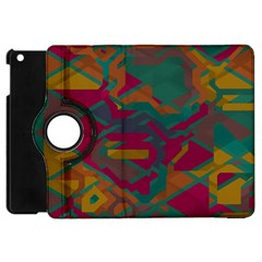 Geometric Shapes In Retro Colors			apple Ipad Mini Flip 360 Case by LalyLauraFLM