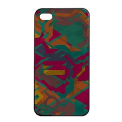 Geometric Shapes In Retro Colors			apple Iphone 4/4s Seamless Case (black) by LalyLauraFLM