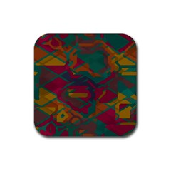 Geometric Shapes In Retro Colorsrubber Square Coaster (4 Pack by LalyLauraFLM