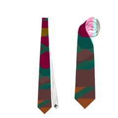 Geometric Shapes In Retro Colors Necktie by LalyLauraFLM