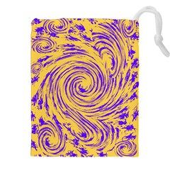 Purple And Orange Swirling Design Drawstring Pouches (XXL) by JDDesigns