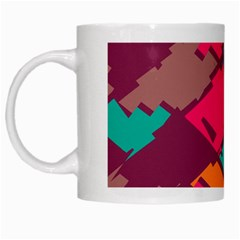 Pieces In Retro Colors White Mug by LalyLauraFLM