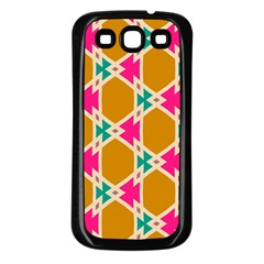 Connected Shapes Pattern			samsung Galaxy S3 Back Case (black) by LalyLauraFLM