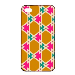 Connected Shapes Pattern			apple Iphone 4/4s Seamless Case (black) by LalyLauraFLM