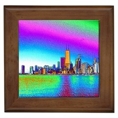 Chicago Colored Foil Effects Framed Tiles by canvasngiftshop