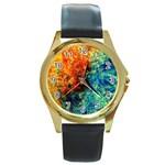 Orange Blue Background Round Gold Metal Watches