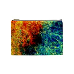 Orange Blue Background Cosmetic Bag (medium)  by Costasonlineshop