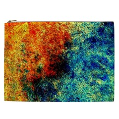 Orange Blue Background Cosmetic Bag (xxl)  by Costasonlineshop
