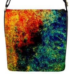 Orange Blue Background Flap Messenger Bag (s) by Costasonlineshop