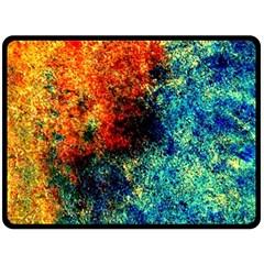 Orange Blue Background Double Sided Fleece Blanket (large)  by Costasonlineshop