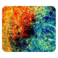 Orange Blue Background Double Sided Flano Blanket (small)  by Costasonlineshop