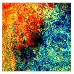 Orange Blue Background Large Satin Scarf (square) by Costasonlineshop