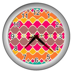 Symmetric Shapes In Retro Colors			wall Clock (silver) by LalyLauraFLM