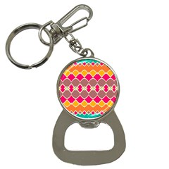Symmetric Shapes In Retro Colors			bottle Opener Key Chain by LalyLauraFLM