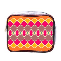 Symmetric Shapes In Retro Colorsmini Toiletries Bag (one Side) by LalyLauraFLM