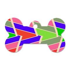 Symmetric Distorted Rectanglesdog Tag Bone (one Side) by LalyLauraFLM