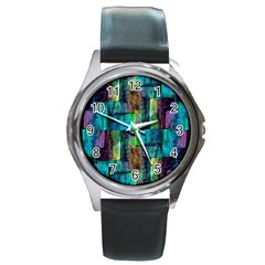 Abstract Square Wall Round Metal Watches by Costasonlineshop