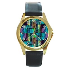 Abstract Square Wall Round Gold Metal Watches by Costasonlineshop